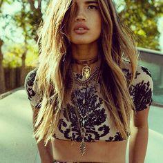 Sexy damask pattern modern boho chic midriff tank top & hippie style choker. For the BEST Bohemian fashion trends of 2015 FOLLOW >>> https://www.pinterest.com/happygolicky/the-best-boho-chic-fashion-bohemian-jewelry-gypsy-/ now