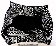 CUSHION CAT - lino cut cat cushion pattern black