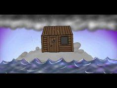 animatie van het verhaal van de man die zijn huis op het huis bouwde