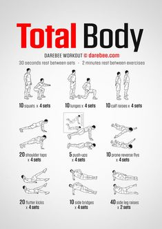 No-Equipment Total Body Workout by DAREBEE darebee workout fitness wod exercise fit strength bodyweight bodyweightworkout # Full Body Bodyweight Workout, Home Workout Men, Full Body Workout Routine, Full Body Workout At Home, Gym Workout For Beginners, Gym Workout Tips, At Home Workout Plan, Workout Fitness, Bodyweight Strength Training