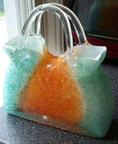 Studio Art Glass Handblown GLASS PURSE Turquoise & Orange~Vase/Decor~Textured