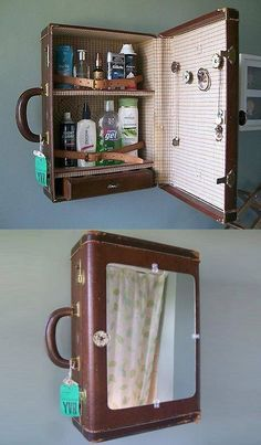 13 clever ideas to decorate your home with vintage suitcases Postris - UPCYCLING. - 13 clever ideas to decorate your home with vintage suitcases Postris – UPCYCLING IDEAS – 13 cl - Diy Bathroom, Bathroom Storage, Bathroom Vintage, Bathroom Ideas, Bathroom Pink, Bathroom Small, Bathroom Cabinets, Vanity Bathroom, Rustic Bathrooms