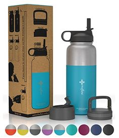 The Flow Stainless Steel Water Bottle, Double Walled/Vacuum Insulated - BPA/Toxin Free – Wide Mouth with Straw Lid (Stainless Pacific blue). For product & price info go to:  https://all4hiking.com/products/the-flow-stainless-steel-water-bottle-double-walled-vacuum-insulated-bpa-toxin-free-wide-mouth-with-straw-lid-stainless-pacific-blue/
