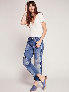 Heirloom Moondial Vintage Boyfriend Jeans | Made from handpicked vintage denim, these boyfriend style high rise jeans are beautifully embellished with denim patch accents, embroidery detailing, and distressing. Classic five-style design with a button fly.