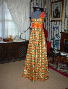 African Wax Print Floor Length Dress by StitchingItTogether, $60.00 #AfricanPrints #kente #ankara #AfricanStyle #AfricanInspired