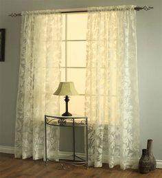 "54""W x 84"" Leaves Burnout Semi-Sheer Curtain Panel  $39.95"