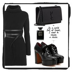 """""""all black #14"""" by koneko-yagami on Polyvore featuring Valentino, Marc Jacobs, Yves Saint Laurent and Chanel"""