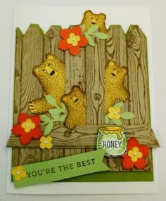 Bobbi Kincel (USA-California) The bears were stamped with Soft Suede ink onto Daffodil Delight cs. sponge edges with soft suede, use marker to darken eyes, nose and mouth. The fence was stamped with soft suede onto crumb cake cs