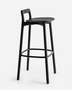 London design studio Industrial Facility has created a stool to join its Branca family of wooden furniture for Italian brand Mattiazzi. Black Dining Room Chairs, Industrial Dining Chairs, Metal Chairs, Kitchen Chairs, Tall Bar Stools, Bar Chairs, Lounge Chairs, Counter Stools, Side Chairs
