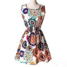 Womens Summer Dramatic Edge Floral Print Waist Dress