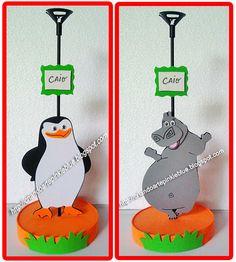 Tema Madagascar.  Centro de mesa pra decorar a mesa dos convidados.                             Pinguin de Madagascar e a Hipopótamo :)     ...