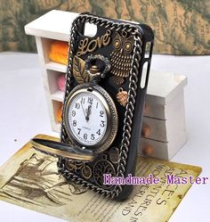 Steampunk Retro Gothic Style iPhone 5 4s 4 Case Cover, Vintage Antique Bronze Brass Clock Watch Owl Bicycle Love Heart