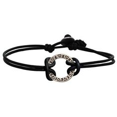 Heather B. Moore Sterling Silver Stamped Hearts Open Circle Bracelet with Black Leather Cord