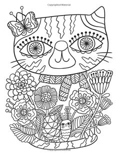 Posh Adult Coloring Book: Cats & Kittens for Comfort & Creativity (Volume (Posh Coloring Books) Blank Coloring Pages, Spring Coloring Pages, Free Adult Coloring Pages, Cat Coloring Page, Coloring Book Art, Free Printable Coloring Pages, Free Coloring, Coloring Sheets, Hand Embroidery Flowers