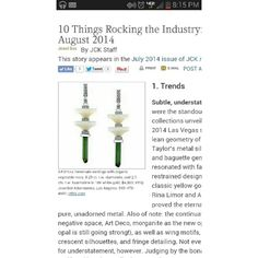 Thanks @jckmagazine for featuring me on this issue. #grateful #trends #ecojewelry #ecofriendly #artdeco  10 things rocking the #jewelry industry.
