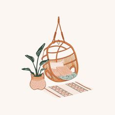 illustration art Nothing has me dreaming of my future Tiny Tropical Home more than this latest project. Laid back cali boho with a splash of rattan and banana leaves. Illustration Inspiration, Illustration Art, Coffee Illustration, Graphic Design Illustration, Ideas Scrapbook, Aesthetic Art, Cute Wallpapers, Art Inspo, Art Drawings