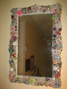 Vintage jewelry mosaic mirror