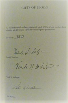 Author Signatures on the limitation page (Ursula K. Le Guin, Vonda N. McIntyre and Kate Wilhelm)
