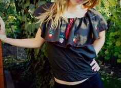 HUNGARIAN peasant blouse in black textile with by TaylorGirlsShop