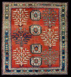 "Kazak ""Tree of Life"" rug, Azerbaijan, ca. 1900."