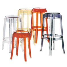 The shape of Charles Ghost conjures up stools of the 1800's and the line of the legs is rounded and slightly upturned, an icon of the classic high stool. Charles Ghost is constructed from a single block of polycarbonate which makes it very hard wearing and allows it to survive outdoors as well as indoors.  Charles Ghost Stool s available in 3 different heights, 9 different colours and can be stacked 7 stools high.