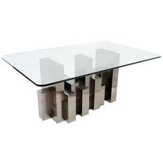 "Paul Evans Citiscape Dining Table ""Gun Metal"" Chrome Finish c1970"
