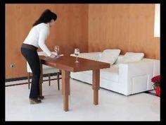 Mesa de centro elevable y extensible convertible en mesa de comedor