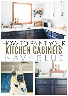 Learn how to DIY prime, paint and seal your existing kitchen cabinets to this beautiful navy blue color.  #diypassionblog #kitchenremodel #kitchencabinets