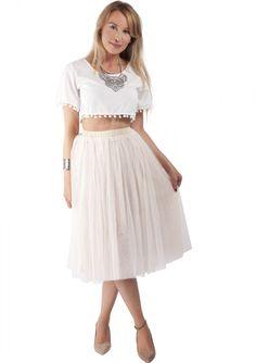 Pleated Tulle Midi Skirt Nude 22,90€ #happinessbtq