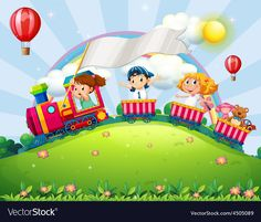 Children and train vector image on VectorStock