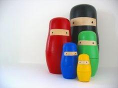 Colorful ninja nesting dolls