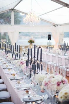 I love everything about this reception design. from the clear tent to the charcoal grey candles. -BE  www.EventDesignbyBE.com