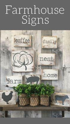 Mini Farmhouse signs!  Farmhouse Kitchen Decor   Country Home and Living room decor   Farmhouse kitchen sign, Farmhouse decor, Rustic decor, Rustic kitchen sign, gallery wall decor, home decor, coffee sign, family sign, cotton, nest, pig, cow, chicken, farm animal decor #ad