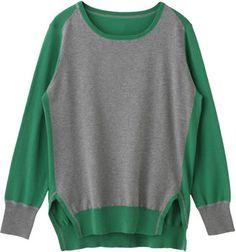 Cotton cashmere sweater / ShopStyle: ELLE SHOP プレインピープル コットンカシミヤ丸首配色プルオーバー
