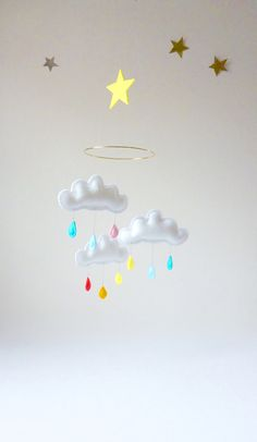 Rain Cloud Mobile for Nursery CIRCUS with yellow by leptitpapillon, $61.00