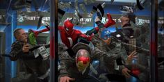 'Spider-Man' battles 'The Avengers' bank robbers in 'Spider-Man: Homecoming' (2017) concept art