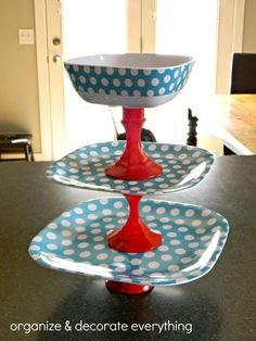 glue together dollar store plates and candle stick holders/cups and boom. havent seen this with a bowl on top before, but this would be great for a veggie/chip and dip combo!