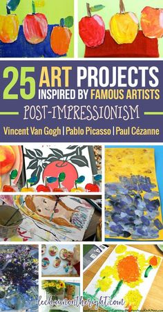 25 Art Projects Inspired by Famous Artists! If you need some art ideas for elementary children this is the roundup for you!