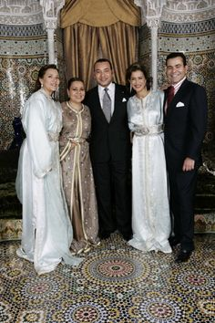 (L-R) Princess Lalla Hasna, with her sister Princess Lalla Asma, her brother King Mohammed VI, eldest sister Princess Lalla Meryem and their youngest brother Prince Moulay Rachid of Morocco