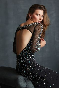 Shop 2014 Scoop Neckline Full Sleeves Rhinestone Beaded Bodice Mermaid Chiffon Prom Dresses Online affordable for each occasion. Latest design party dresses and gowns on sale for fashion women and girls.