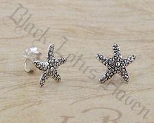 Sterling Silver Oxidized Starfish Mini Stud Earrings