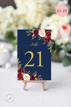 Tischnummer Marine Blau, Gold, Burgunder