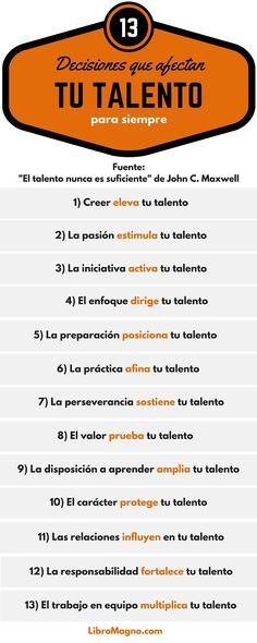 13 decisiones que afectan tu Talento para siempre #infografía