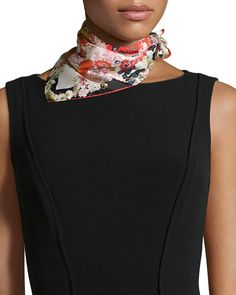 Chloris Floral-Print Square Scarf, Red, Red Floral - St. Piece