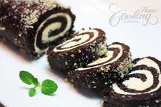 Walnut Chocolate Rolls with White Filling