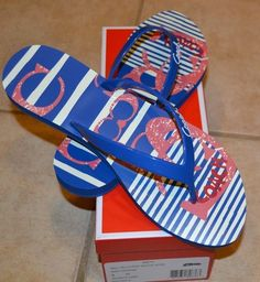 'Coach-Kali Jelly Pop Nautical Flip Flops-9' is going up for auction at  2pm Sat, Jul 20 with a starting bid of $40.