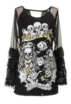 Wholesale Fashion Women Sexy Skull Tassel Sleeve Loose Backless T-shirt US$ : 11.64