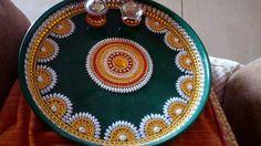 Diwali Decorations At Home, Home Wedding Decorations, Wedding Crafts, Festival Decorations, Arti Thali Decoration, Kalash Decoration, Indian Wedding Centerpieces, Desi Wedding Decor, Cd Crafts