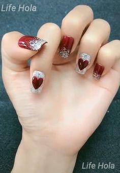 Valentine's Day Nail Designs, Nail Art Designs Videos, Nail Art Videos, Simple Nail Art Designs, Easy Nail Art, Red Nail Art, Red Nails, Xmas Nails, Korean Nail Art