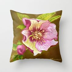 Lenten Rose Throw Pillow by JoanAHamilton - $20.00